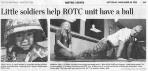 "scan of news article ""Little Soldiers help ROTC unit have ball"""
