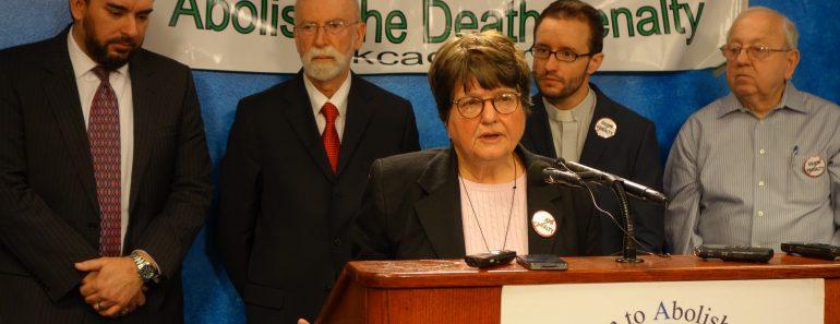 Sister Helen Prejean speaks at press conference for Richard Glossip